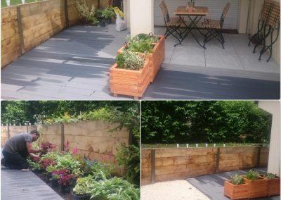Création complète d'un jardin avec terrasse composite, muret de soutènement en poutre chêne, allée en grvier et dalles sur plots.