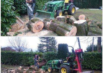 Coupe et fendage du bois après abattage