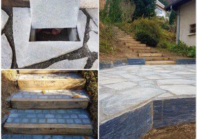 Allée en dalle de luzerne avec bordure en pierre de schiste et escalier en pavés granit