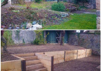 Avant/après. Muret bois avec escalier intégré et poteau métal